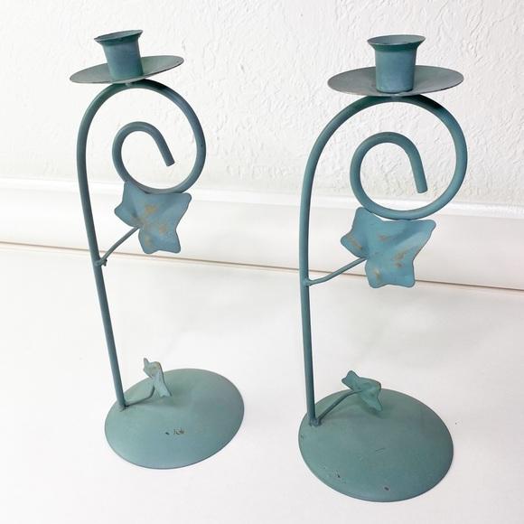 Vintage Other - 2 Vintage Waccamaw Grapevine Green Candleholders